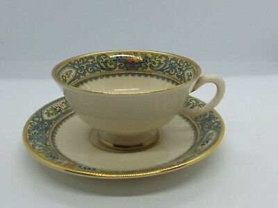 Lenox China Footed Tea / Coffee Cup and Saucer Autumn Made In USA Bone China