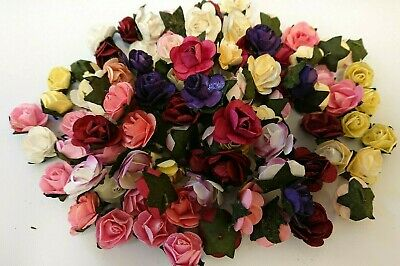 100 small paper flower heads, assorted colours, cardmaking , scrapbooking,