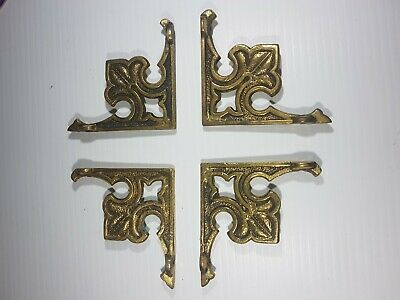 4 Vintage solid Brass wall shelf brackets -VICTORIAN Antique