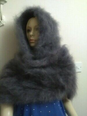 HAND KNITTED 3 STRAND STEEL GREY X LONG MOHAIR SCARF. by GINA