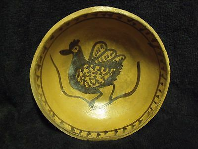 "Antique South American 6"" Rooster And Snake Semi-Glazed Terra Cotta Clay Bowl"