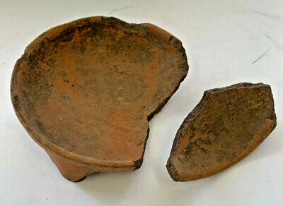 Ancient Pre-Columbian terracotta tri-leg bowl  broken with pieces present