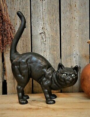 Antique Primitive Hubley Cast Iron Arched Black Cat Door Stop Vtg Halloween AAFA