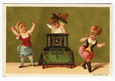 NEW YEAR Midnight Children Cherub Coming Out Antique French CLOCK Card 1880's