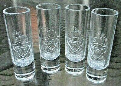 Tequila Corralejo Tall Clear Embossed 60Ml Shot Glass -Brand New Set Of 4