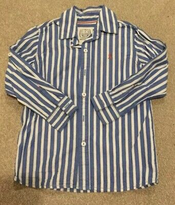Joules Boys Striped Blue And White Long Sleeved Cotton Shirt Age 7