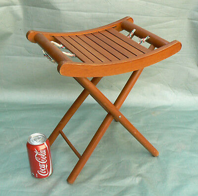 1960's Vintage Wooden Folding Stool Slatted Seat Retro Camping Doll Teddy Chair