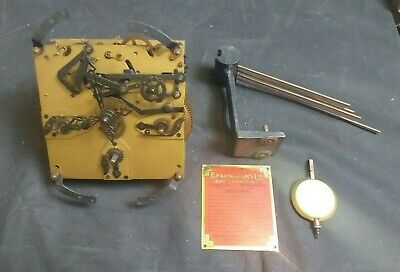 Antique Bravingtons Clock Movement with Clockworks-Hammers-Chimes-Hands-Label