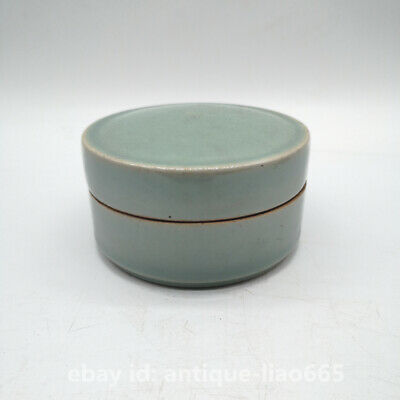 "3.9"" Collect Chinese Longquan Celadon Porcelain Round Ink Box Rouge Jewelry Box"