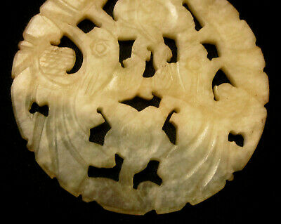 Chinese Antique Vintage Carved White Jade Pendant