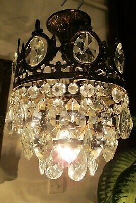 Antique Vin.PLAFONIERE French Basket Style Crystal Chandelier Lamp Light 1940's.