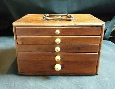 Small Vintage Wooden Collector's Drawers / Jewellery Box / Apprentice Piece