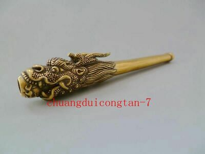 Collectible Chinese Old Brass Handwork Rare Antique Dragon Sm0king Pipe Statue