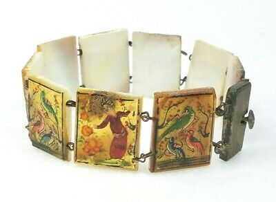 Antique  Hand Painted Mother Of Pearl Persian Storyteller 9 Panel Bracelet