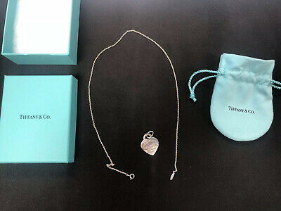 """Tiffany & Co Sterling Silver 925 Please Return To Heart Tag Necklace 18"""" + Bag"""