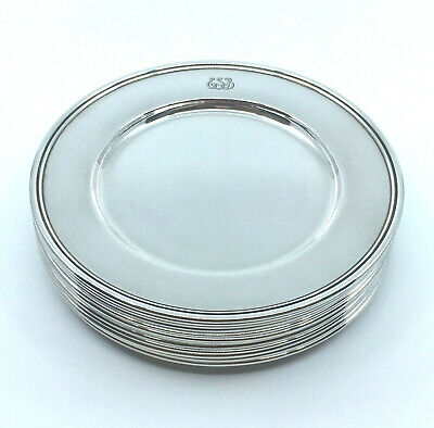 GORGEOUS Antique Tiffany & Co. Sterling Silver Bread and Butter Plates SET of 12