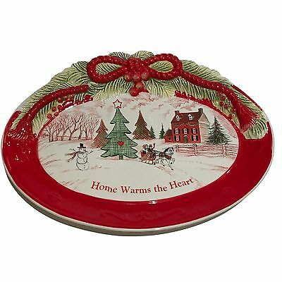 "Fitz Floyd Home Warms the Heart 13"" Christmas Cookie Plate Platter Holiday Oval"