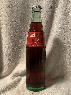 FULL 10oz DIET-RITE COLA  ACL SODA BOTTLE ROYAL CROWN COLA ROME, GA