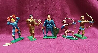 Vintage Starlux Medieval Soldiers Bowmen Archers Lot Of 5