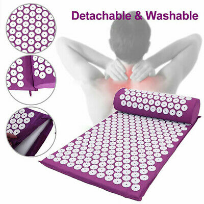 Acupressure Massage Yoga Mat Pad Pillow Bed Pilates Nail Needle Relieve Stress