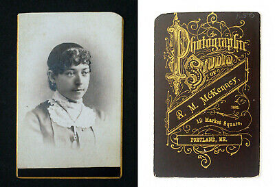 CABINET CARD YOUNG WOMAN - A. M. MCKENNEY PHOTOGRAPHER 1880s