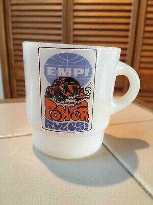 Old Empi VW Accessory Importer Advertising Fire King Coffee Mug Power Rules