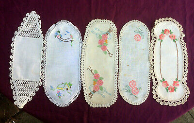 5 Vintage Hand Embroidered & Crocheted Sandwich Tray Doilies