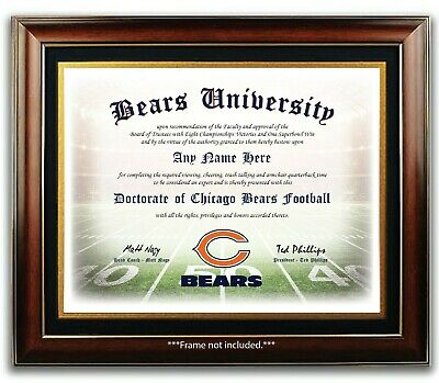 CHICAGO BEARS NFL Football Fan Certificate / Diploma Man Cave GIFT Christmas
