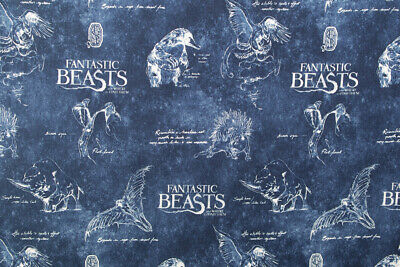 1//2 YARD~QUILTING FANTASTIC BEASTS FABRIC HARRY POTTER~WIZARD~WANDS!