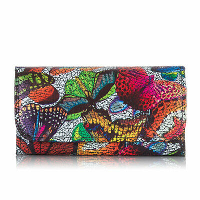 Women`s Purse Wallet Clutch Real Leather Paolo Peruzzi Butterflies L-16-Black