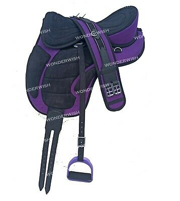 4  Girth Free Ship Details about  /Treeless Freemax Synthetic English Horse Tack Handle Saddle