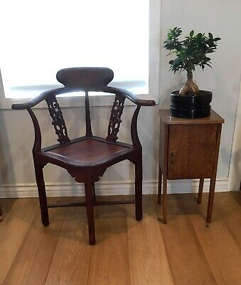 Pair of Vintage Chinese Carved Rosewood Corner Chairs local pick up 91205