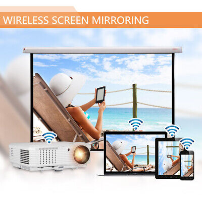 HD Smart Android WIFI Projector Home Cinema 1080P HDMI Movies Smart Phone Tablet