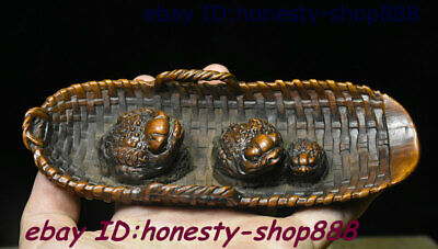 Old Chinese Boxwood Wood Carving Golden Toad Spittor Writing-brush Washer Statue