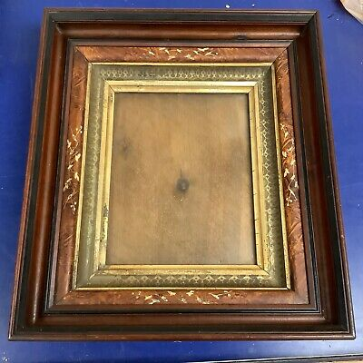 Spoon Carve Antique Victorian Deep Walnut Shadowbox Wood Gilt Picture Frame 8x10