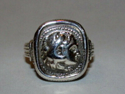 Sterling Silver Alexander the Great Etruscan Style Cameo Ring