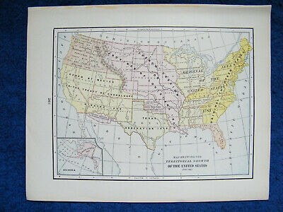 Orig. 1901 Crams Map Showing Territorial Growth of the United States 1776-1897.