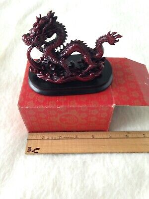 Chinese Feng Shui Red Resin Dragon Figurine Statue for Luck & Success -NEW