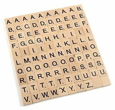 100 WOODEN SCRABBLE TILES Board Game Pieces Black Alphabet Letters Numbers Craft