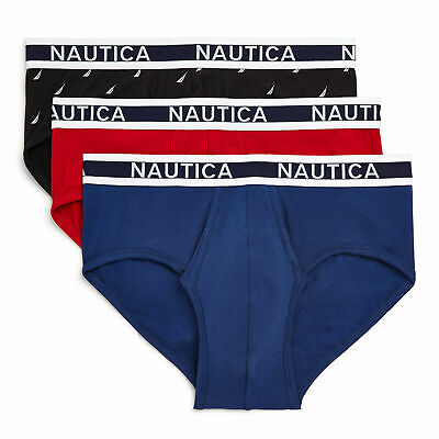 Nautica Mens Stretch Classic Briefs, 3-Pack