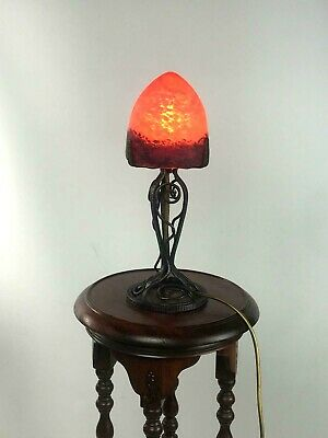 French Art Deco Wrought Iron Table Lamp with Glass Shade [5593]