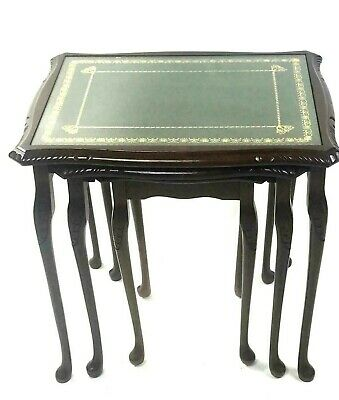 Vintage Mahogany Leather Top Nest of 3 Tables - FREE Shipping [5594]