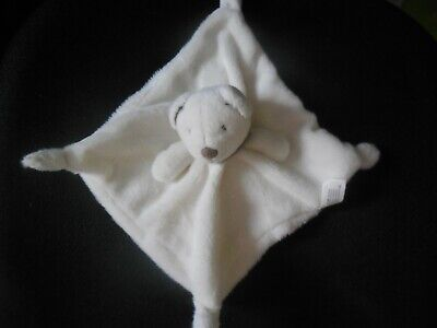 doudou plat ours blanc foulard taupe beige NICOTOY