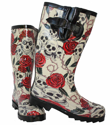 Womens Fashion Rain Wellingtons Skull & Roses Print Rubber Wellies Casual Boots