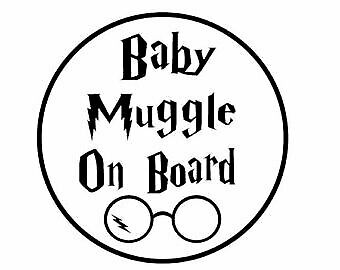 Harry Potter Inspired Baby Muggle On Board Sticker, Glasses and Lunch box Kids