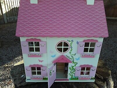 Asda George Large Wooden Dolls House with 10 Figures + Furniture Set