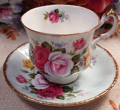 Paragon Fine Bone China  England Red, Pink & Yellow Cabbage Roses Cup & Saucer