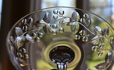 Antique Cut Glass Crystal Engraved Berry Fruits Leaves Compote