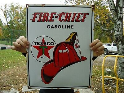 Vintage Texaco Fire-Chief Gasoline Porcelain Gas Station Pump Sign