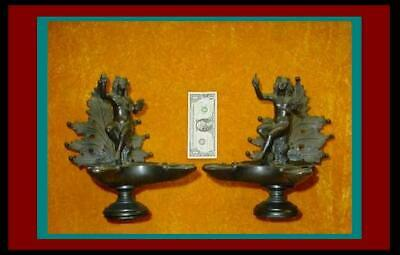 Huge Magnificent Pair of ANTIQUE ROMAN Bronze OIL LAMPS with APOLLO FINIALS